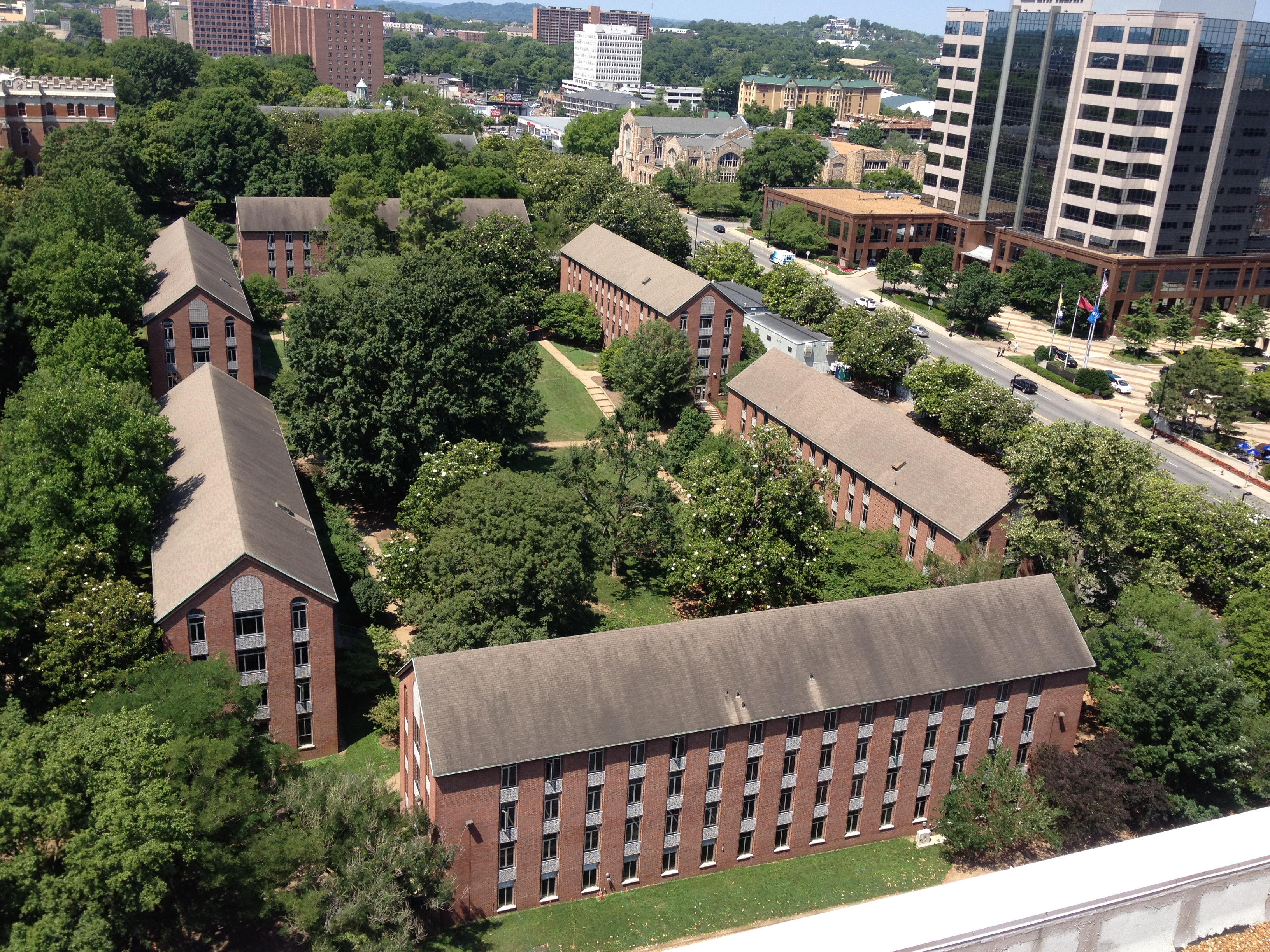 Kissam Quad, College Halls, view from Baker bldg roof