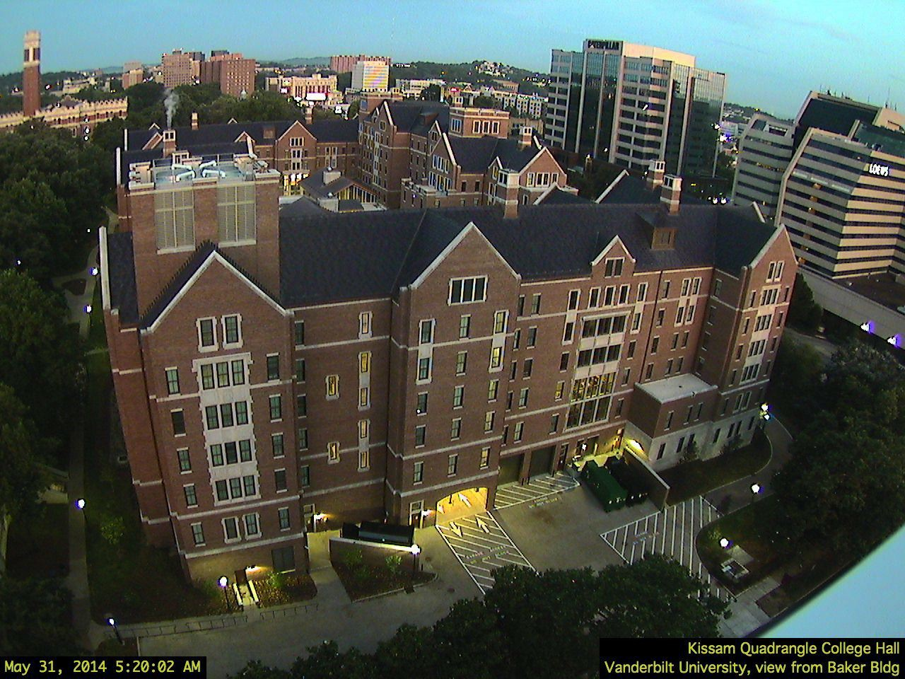 Kissam Quad, College Halls, view from Baker Bldg